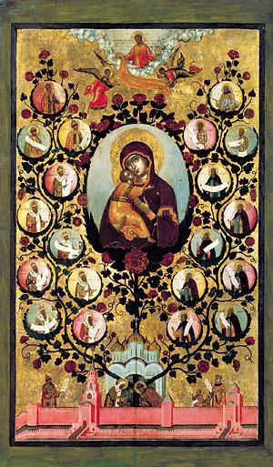 Похвала Владимирской иконе Богоматери («Насаждение древа государства Российского). 1668 г. Государственная Третьяковская га